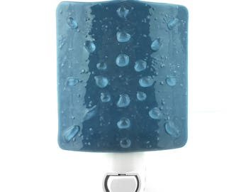 Plug In Night Light, Blue on Blue Starburst, Art Glass