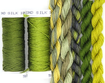 Free Design, PDF, Silk thread, needlepoint design, silk fibers, embroidery thread assortment, green, olive, hand dyed thread, holiday gift