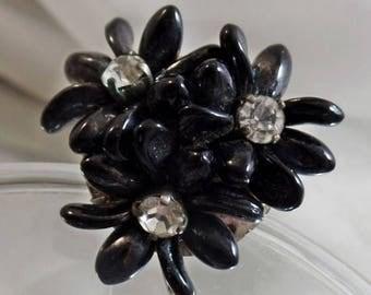 SALE Vintage Black Glass Flower Brooch.  Clear Rhinestone Black Glass Petal Pin.  Hand Wired Glass Brooch.