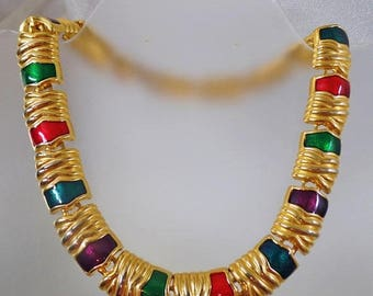 SALE Vintage Gold Enamel Egyptian Revival Necklace. Chunky Red Green Purple Enamel Egyptian Revival Choker.