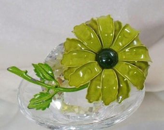 SALE Vintage Large Green Flower Brooch. Olive Green Enamel Flower Power Pin.