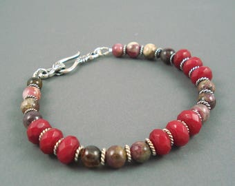 Ruby Bracelet, Natural Ruby with Tourmaline and Sterling Silver Spacers, Tourmaline Braclet
