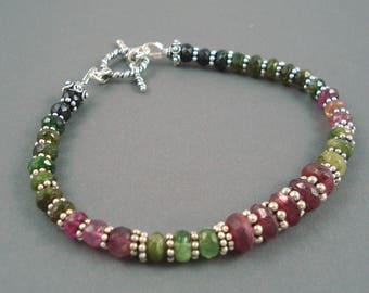 Tourmaline Bracelet,Pink and Green Tourmaline and Sterling Silver Spacers, Watermelon Tourmaline Bracelet