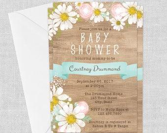 PRINTED Wood Look Daisy Invitation- Aqua Blue, 5 x 7, Rustic, Baby Shower, Wedding, Birthday, Bridal Shower, Customized w/ Your Wording