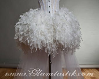 Custom Size White tulle Burlesque feather Corset Prom day of the dead witch costume dress Small-XL
