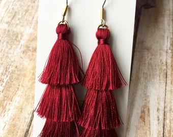 Red Triple Decker Tassel Earrings