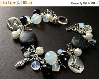 SUMMER SALE Black and White Runes Charm Bracelet in Moonstones and Smoky Quartz. Handmade Jewelry by Gilliauna
