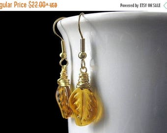 SUMMER SALE Amber Leaf Earrings, Wire Wrapped in Gold. Handmade Jewelry