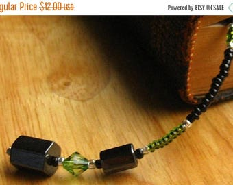 SUMMER SALE Beaded Bookmark. Black Book Thong. Green Book Marker - Dream In Green. Handmade.