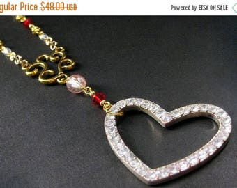 BACK to SCHOOL SALE Rhinestone Heart Necklace. Sweetheart Necklace. Pink Necklace. Beaded Necklace. Gold Necklace. Red Necklace. Handmade Je