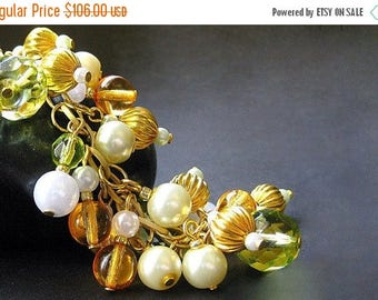 BACK to SCHOOL SALE Handmade Bracelet and Earring Set - Honeydew n Cantaloupe. Handmade Bracelet.