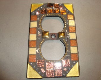 MOSAIC Electrical OUTLET Cover - Wall Plate, Wall Art, Gold, Copper, Beige