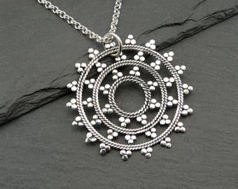 Mandala - Mandala Necklace - Sterling Silver Mandala Jewelry, Yoga Necklace, Zen Jewelry, Hippie Jewelry, Yoga Gifts,