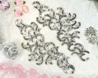 "Sequin Appliques Silver w/ Beaded edge Dance Costume Motif Mirror Pair 11"" (0515X-sl)"