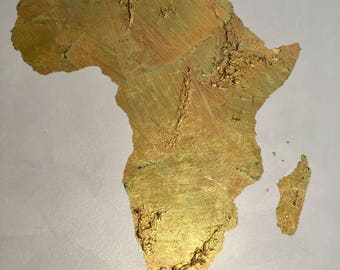 Gold Leaf map of Africa Africa map Africa love original gold leaf map of Africa