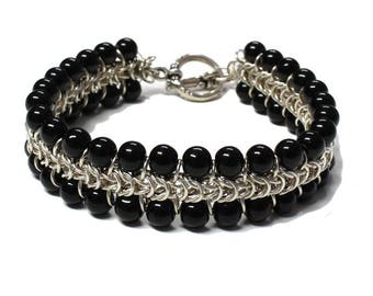 Black Onyx Silver Chainmail Bracelet - for 7 inch wrist size - black and silver - handmade box chain mail unisex jewelry