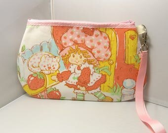 Strawberry Shortcake Wristlet / Pouch -- Handmade  Vintage  80s  American Greetings