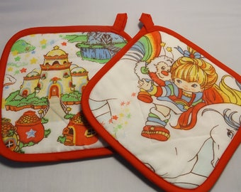 Rainbow Brite Pot Holders -Set of 2      Handmade  Hallmark