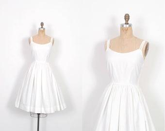 Vintage 1950s Dress / 50s White Cotton Sundress / Full Skirt ( medium M )