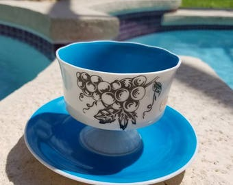 Beautiful genuine porcelain Japan tea cup,turquoise blue, with grape  design