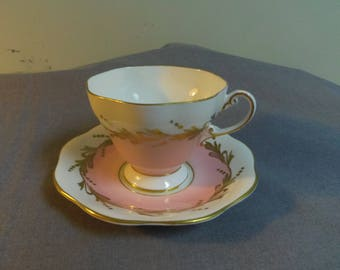 Teacup and Saucer, EB Foley (E. Brain & Co, Foley Works) Pink, White and Gilt Design, 1950s