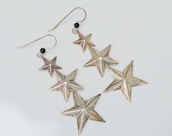 Vintage Sterling Silver Star Dangle Earrings . Wire . Detailed Design . 1970's .
