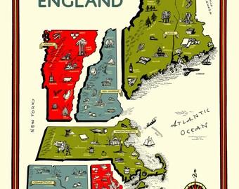 New England Map ca. 1950s Maine Vermont New Hampshire Massachusetts Connecticut Rhode Island Atlantic Ocean Products Industries Activities