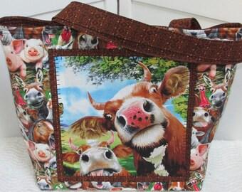 Farm Animal Selfie Large Tote Bag Jersey Cow Shoulder Bag Whimsical barn yard animals purse Four Legged Friend Bag Ready To Ship
