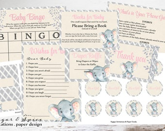 Baby Shower Game Package, Elephant Baby Shower Invitation, Baby Shower Decoration Printable Baby Shower Games