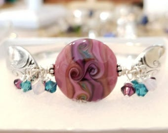 Silver Spoon Bracelet with Artisan Lampwork Glass Focal Bead by Pearly Karpel