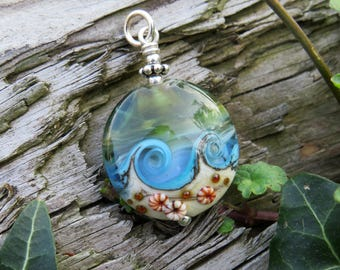 """Pendant """"BEACH-FANTASY II"""" - hand-crafted lampwork bead, sterling silver - one of a kind!"""
