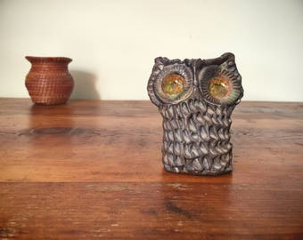 Stoneware Studio Pottery Owl Figurine in the Style of Margot Kempe Mid Century Decor
