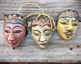 Vintage Miniature Mask Wood Carved Hand Painted, Tribal Decor Wall Art