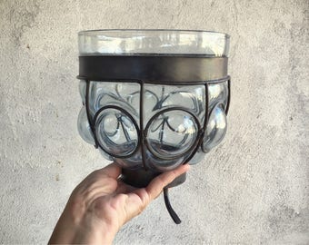 Caged Glass Wrought Iron Vase Candleholder, Mexican Glass Vase Rustic Decor