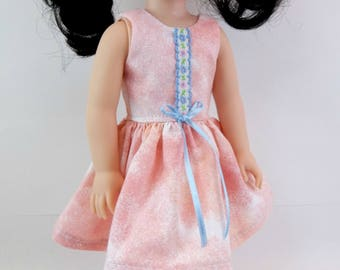 "Doll Dress for 14.5"" Doll Peach Batik Sleeveless Dress Fits Wellie Wishers and Similar Dolls"