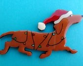 Red Doxie Christmas Pin, Magnet or Ornament in Smooth, Wire, Long Hair or Dapple-Free Shipping-Hand Painted Dachshund- Free Personalization