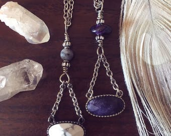 Amethyst or White Howlite Pendant Necklace