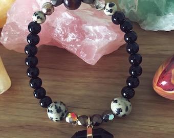 Onyx and Gemstones Beaded Stretch Bracelet