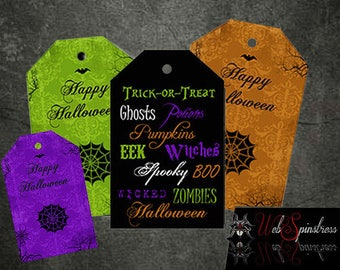 Printable Halloween Favor Bag Tags - Words Spiderwebs Happy Halloween Tags / Instant Download