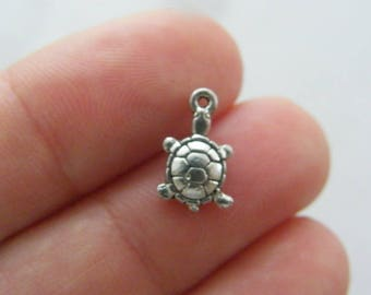 30 Tortoise charms  antique silver tone FF44