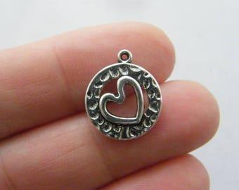 BULK 50 Heart charms antique silver tone H95