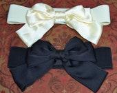 Bow cinch belt ,Wide elastic stretch corset belt, cinch belt with big bow, black belt, ivory belt , one size belt, stretchy belt