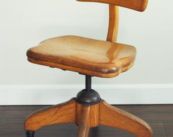 vintage oak swivel rolling office chairmid century wood desk desk chair