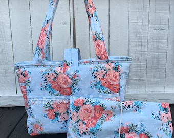 Diaper bag- large bag- shabby chic blue and coral floral with lace trim detail and dot interior- Ready-made