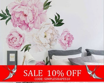 Summer Sale - Peony Flower Wall Sticker, Vivid Pink Watercolor Peony Wall Stickers - Floral Peel and Stick Repositionable Stickers