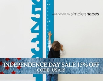 Independence Day Sale - Growth Chart Numbers - Children's Vinyl Wall Decal