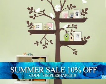 ORIGINAL Shelving Tree with Birds - LARGE  Kids Vinyl Wall Sticker Decals