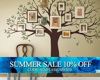 Wall Decal Family Tree Wall Decal Sticker Family Photo Tree - Two colors - Vinyl Wall Sticker Photo Tree Decal Tree Family