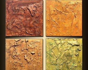 Original Modern Abstract Painting, Textured Metallic Art by Henry Parsinia  24 x 24