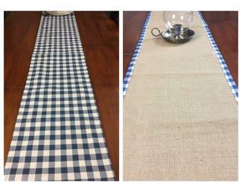 Reversible Table Runner / Burlap Table Runner /  French Farmhouse Table Runner / Blue Plaid Table Runner /  Blue table runner /